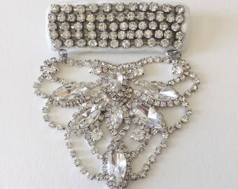 crystal cascade brooch pin , handmade, anniemjewelry