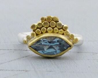 Reserved for Mikarsha - Blue Topaz Ring -  2 2k gold  Blue Topaz Ring - Gold & Silver Ring - First Payment