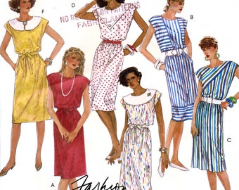 McCall's 2983 Vintage 80s Sewing Pattern for Misses' Dress - Uncut - Size 14
