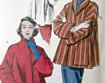 Butterick 4928 Sewing Pattern, 1950s Jacket Pattern, Reproduction Pattern, Reprint Pattern, Kimono Sleeves, Bust 29.5 to 36, Clutch Jacket
