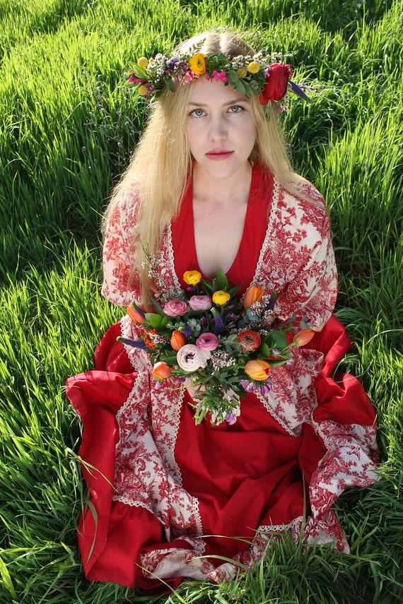SONNET 1970's Wedding Gown Renaissance Bridal Red Cotton Muslin Spring Maiden Print Gunne Sax Dress Black Label Size 13