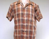 Vintage 1960s Mens Shirt / 60s Brown Plaid Short Sleeve Towncraft Shirt / Large