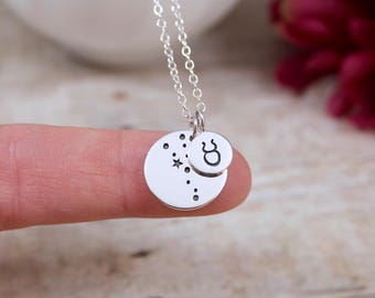 Taurus Constellation Necklace  - Taurus Necklace in Sterling Silver - Taurus Jewelry