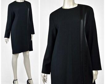 SALE! Vintage Black Wool Dress • Little Black Dress • Evan Picone 90s Dress • Shift Dress • Satin Striped Dress • 1990s Dress • Knit Dress L