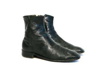 Vintage 60's Sleek Black Leather Zip Up Beatle Boots Men's Size 9 US Women's 10 11 US Retro/Mod/Zip Up