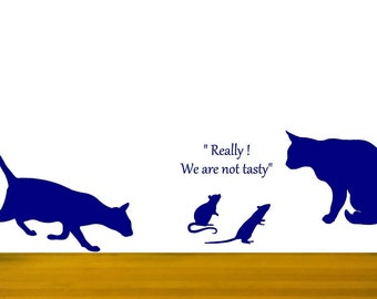 Cat wall decals, Cat and mouse, Funny cat stickers, Mice wall decals, Cat lovers gift, Living Room Decor, Veterinarian Office, Office decor