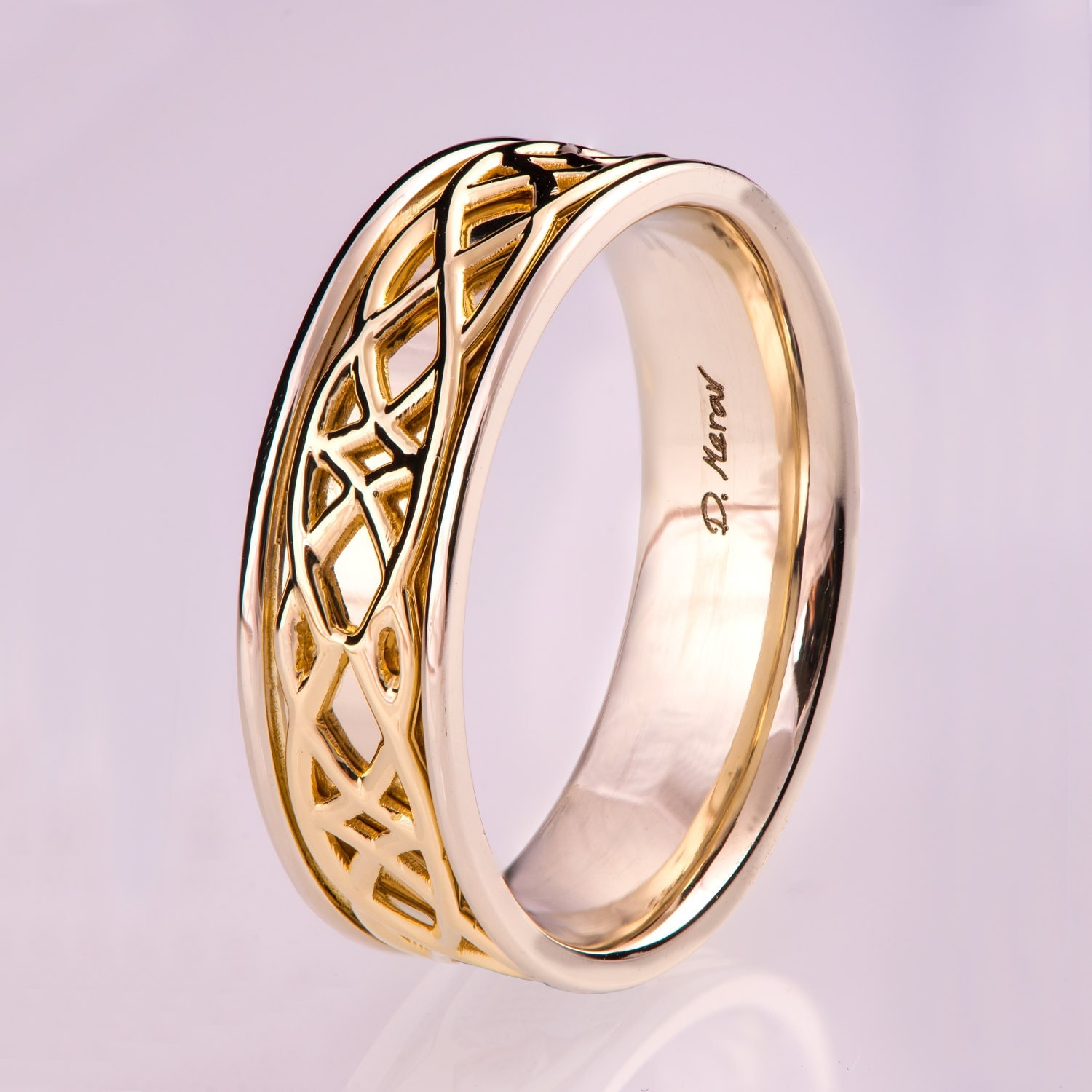 Celtic Wedding Band Wedding Band Two Tone wedding Ring two