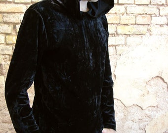 Mens black crushed velvet hooded top nu goth dark witch boy strega fashion S M L