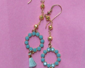 Sweet Gold and Turquoise Tiny Tassel Dangle Earrings - Swarovski-Sterling Gold Fill Ear Wires