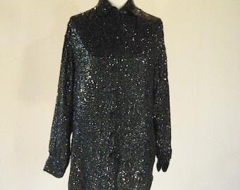 Black Sequin Button Up Dress Shirt Top Glam