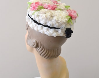 1950s Floral Straw Hat