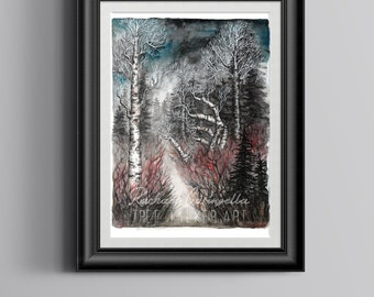 Giclee Art Print - Mixed Media Watercolor - Welcome Winter - 9x12 - Tree Talker Art