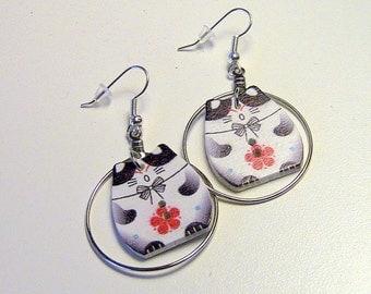 Cat Earrings, Black Cat Earrings, Gift For Her, Black Kitty Earrings, Cat Hoop earrings, Kitty Earrings, Kitty Hoop Earrings