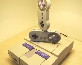 Super Nintendo Desk Lamp Console and Controllers - Art Sculpture Light with Lamp Shade