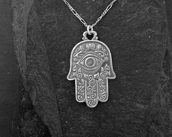 Sterling Silver Hand of Fatima Pendant on a a Sterling Silver Chain
