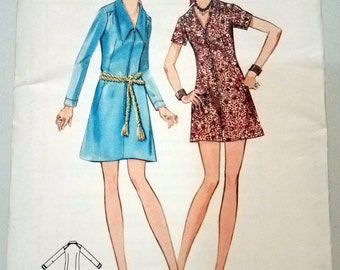 Vintage 1971 Butterick 5734 Womens' A-line Dress Sewing Pattern Size 18