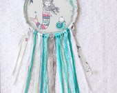 Mama Mermaid and Baby Dream Catcher, Turquoise & Grey, Lace Dreamcatcher, Nursery Decor, Gender Neutral Baby Shower Gift Idea