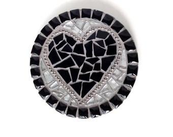 Black Heart Mosaic, mosaic heart wall decor, mosaic heart art