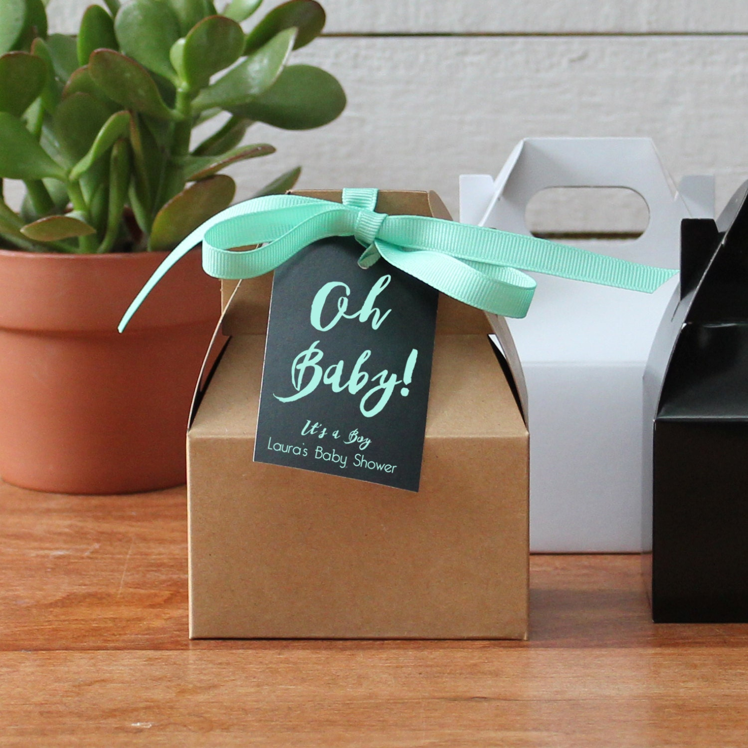 12 Oh Baby Mini Gable Favor Boxes Baby Shower Favors Baby