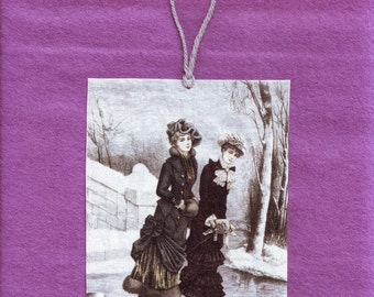 Victorian Ice Skaters Wall Hanging