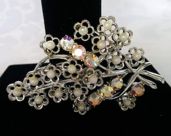 Coro Brooch Aurora Borealis and Pearl Flowers, Coro Flower Bunch Brooch, Coro Silver Brooch