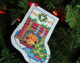 Fireplace Stocking Cross Stitch Christmas Ornament