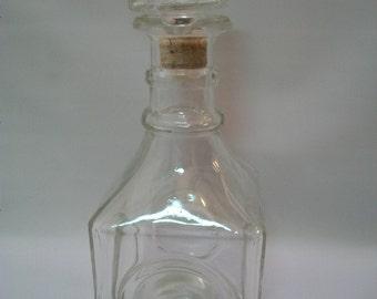 Vintage Square Bottle/Decanter, Whiskey Decanter, Barware, Square Bottle/ Carafe, Vintage Barware, Bottle Crafts, Altered Bottle Art,