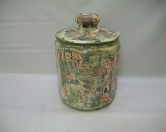 Handmade Decpoupaged Canister, Decoupaged Container, Shabby Chic Art, Tramp Art, Urban Style Decor, Green Decoupage in Graffiti Style