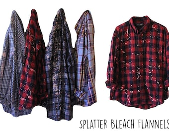 Splatter Bleached Flannel Shirts Custom Distressed Flannel