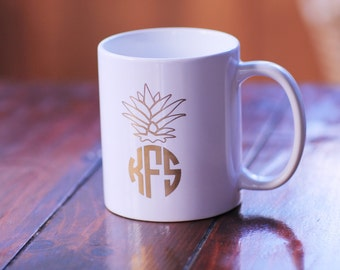 Preppy Gold Foil Limited Edition Monogrammed Personalized Coffee Mug Pineapple Monogram Kitchen ...