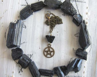black tourmaline amulet - Wiccan pentacle Necklace - witchcraft pagan pentagram pendant mystical witchy jewelry occult wiccan amulet wicca