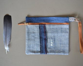 neutral blue denim zipper pouch - repurposed blue jeans patchwork toiletry bag - upcycled blue jeans zipper pouch - neutral zipper pouch