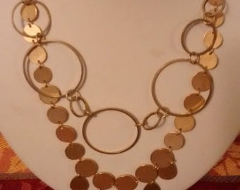 Brushed/Matte golden circles necklace duo