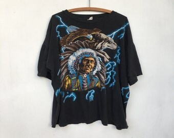 Vintage 90s Distressed American Thunder Native American Wolf & Eagle All Over Print T Shirt XXL