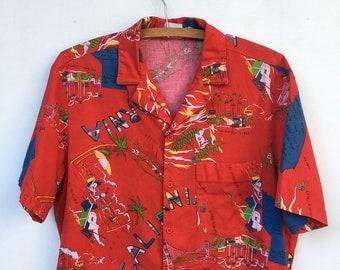 Vintage 90s California Tourist Paradise Beach Club Mervyn's Button Down Shirt M