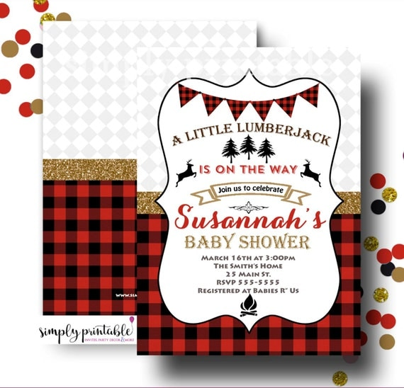 Lumberjack Baby Shower Invite, Woodland Invitaion, Buffalo Plain