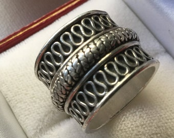 Sterling silver 925 Suarti wide statement ring   VJSE