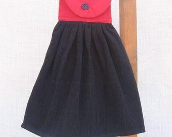 Black & Red Hanging Kitchen Towel, Kitchen Decor, Kitchen Tea Towel, Red Kitchen