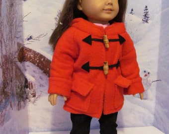 Winter Coat, Fleece  Hooded  Coat , Winter Parka, 18 inch Doll Clothes