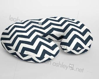 Boppy® Cover, Nursing Pillow Cover - Navy/Ivory Chevron Minky - BC1