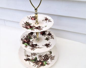 Vintage Dessert Display Stand   Johnson Bros China   3 Tier Serving Tray   Tidbit Tray   Cupcake Stand