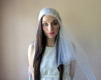 Bandeau Wedding Veil - Bride, Boho Bride, Bohemian Style Veil, Beaded Rhinestone Applique, Handmade, Destination Wedding:  BELLA - BBD-116