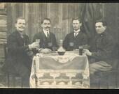 vintage photo men drinking with moustache tavern bavaria eastern europe