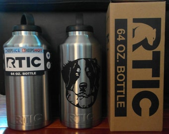 64oz RTIC Growler Bottle with Beautiful Berner Puppy Head on Both Sides