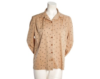 Tan vintage blouse with feather print -- 80s vintage long sleeved blouse -- size medium / large/ xl