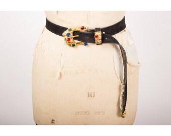 Vintage leather belt / 1980s Leatherock Nina Arjani gold baroque chunky rhinestone brutalist style belt S M L