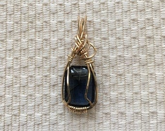Tanzanite  Square Blue Stone Wire Wrapped In 14K