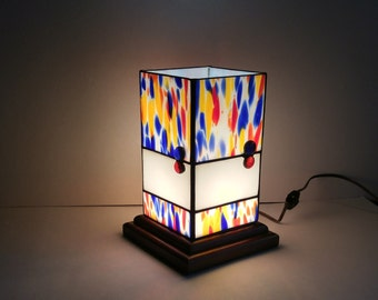 Multi colored  stained glass table lantern one of a kind original design READY TO SHIP