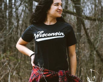 Wisconsin Retro Club Script Vintage Black Triblend Unisex T-Shirt. Slim fit tee for Men Women. Madison Midwest Pride.