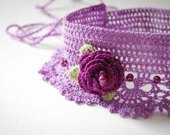 Handmade Crochet Choker, Necklace, Lace Jewelry, Flowers, beads.